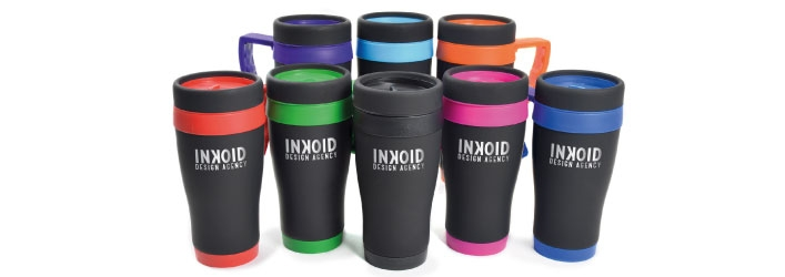 Black travel mugs