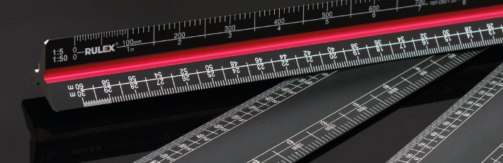 Black scale ruler range
